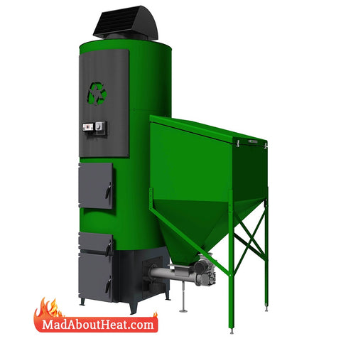 Tabi 70 kW automated wood pellet and coal space heater and hot air blower