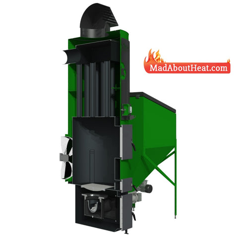 Tabi 70kW space heater hot air blower multi fuel wood chip board burner
