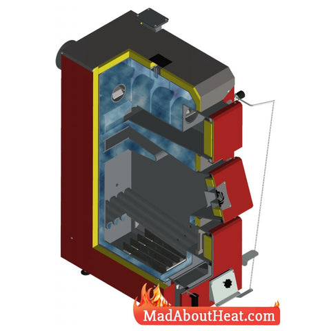 DWB 40kW Solid Fuel Boiler Burns Coal Wood Peat Turf Defro KDR