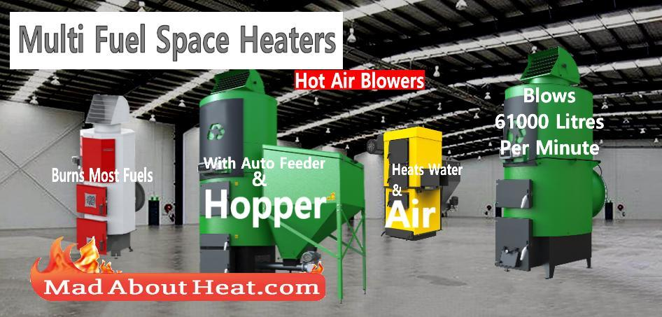 multi fuel space heater biomass wood waste hot air blower burner