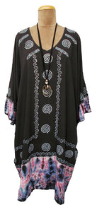 Indian Hand Block Print Tie Dye Viscose Tunic Size 18 - 32 LS1