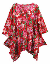 Load image into Gallery viewer, Red 2 Pockets Hanky Hem Lagenlook Top Size 16-22