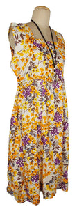 Beige Oversized Floral Print Cotton Maxi Dress Size 18-26