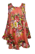 Load image into Gallery viewer, Coral Hippie Lagenlook Tunic Top Dress Boho Beach Kaftan Size 18 20 22 24 26 28 30