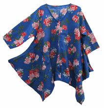 Load image into Gallery viewer, Blue 2 Pockets Hanky Hem Lagenlook Top Size 16-22
