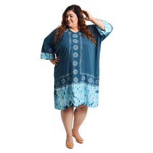 Indian Hand Block Print Tie Dye Viscose Tunic Size 18 - 32 LS2