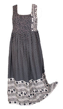 Load image into Gallery viewer, Black 100% Viscose sleeveless long dress with magic stretchable chest UK size 14-24