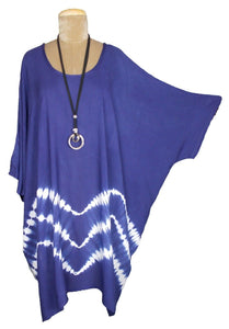 Blue border TIE DYE Short Sleeve Kaftan 24 to 34