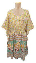 "Load image into Gallery viewer, 38"" Stripe and Border Cotton Belted Kaftan One Size 12 to 24 D20"