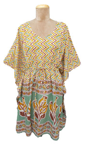 "38"" Stripe and Border Cotton Belted Kaftan One Size 12 to 24 D20"