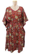 "Load image into Gallery viewer, 41"" Long Red Cotton Belted Kaftan One Size 12 to 24 D29"