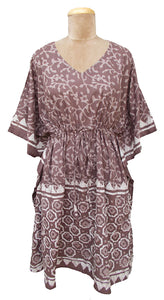 "39"" Brown Batik Print Cotton Belted Kaftan One Size 12 to 24 D9"