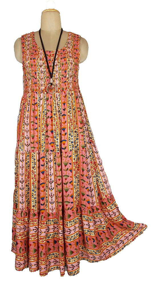 Viscose Tiered Maxi Dress UK  One Size 14-24 E24