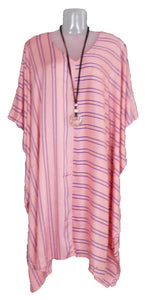 Loose Style Striped Lagenlook Kaftan One-Size 16-26 (Coral)