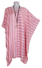 Load image into Gallery viewer, Loose Style Striped Lagenlook Kaftan One-Size 16-26 (Coral)