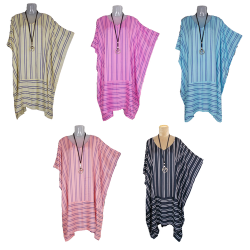 Loose Border Style Striped Kaftan One-Size 16-26