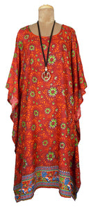 Red Rayon Printed One Size Kaftan Size 16 -26 K13