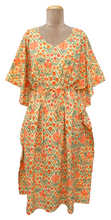 "Load image into Gallery viewer, Long 47"" Cotton Belted Kaftan One Size 12 to 24 DM15 (Nectarine)"