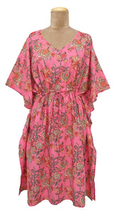 "41"" Long Cotton Belted Kaftan One Size 12 to 24 DM4 (Pink)"