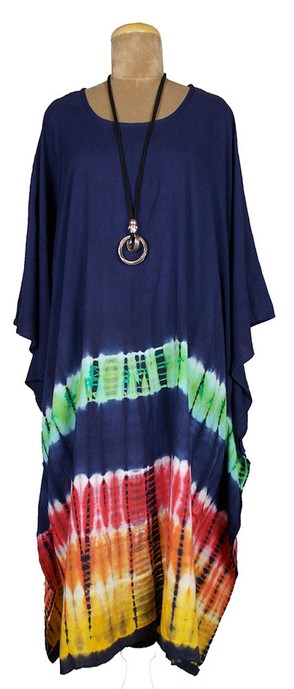 Navy TIE DYE Kaftan Cover Up  Size 16 -26 K4