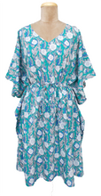 "Load image into Gallery viewer, 41"" Long Cotton Belted Kaftan One Size 12 to 24 DM7 (Teal)"