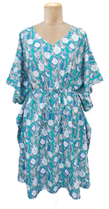 "41"" Long Cotton Belted Kaftan One Size 12 to 24 DM7 (Teal)"