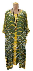 Block Print TIE DYE Kaftan Dress Size 14 -26 BK7