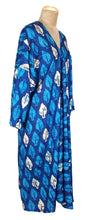Load image into Gallery viewer, Blue Bali Maxi Kaftan Dress Size 14 to 26