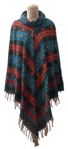Black Autumn Winter Poncho One Size 10 12 14 16 18 20