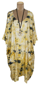 Mustard Pockets Viscose Lagenlook Kaftan 20 to 34