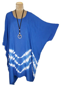 Royal Blue TIE DYE Short Sleeve Kaftan 24 to 34