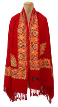 Load image into Gallery viewer, Red The Oriental Garden Embroidered Shawl S23