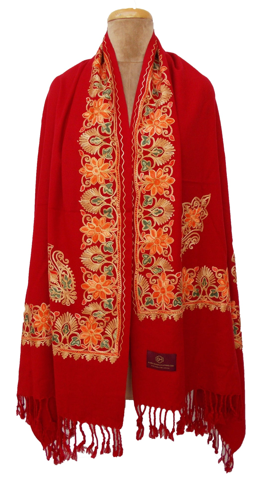 Red The Oriental Garden Embroidered Shawl S23