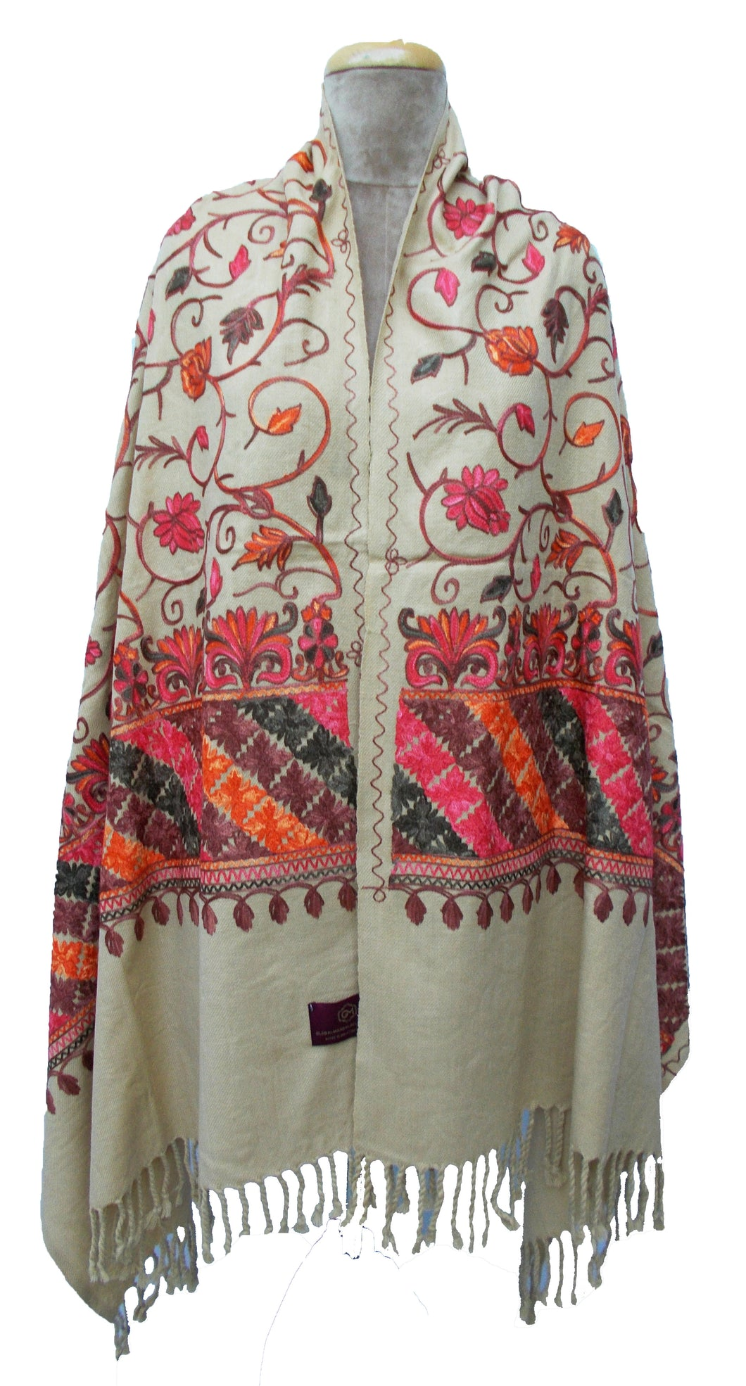 Beige The Oriental Garden Embroidered Shawl S11