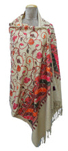 Load image into Gallery viewer, Beige The Oriental Garden Embroidered Shawl S11