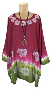 Indian Hand Block Print Tie Dye Viscose Kaftan Size 22 - 32