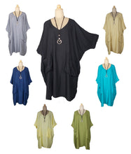 Load image into Gallery viewer, 2 pocket Plain Lagenlook Viscose Oversized Tunic  SIZE 20-32