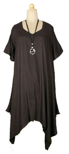 LAGENLOOK VISCOSE OVERSIZED HANKY HEM TUNIC DRESS ONE SIZE 20 - 28