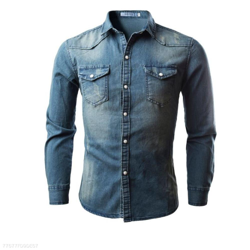 13515249c87 ... Load image into Gallery viewer, Fashion Youth Casual Sport Slim Plain  Denim Button Long Sleeve ...