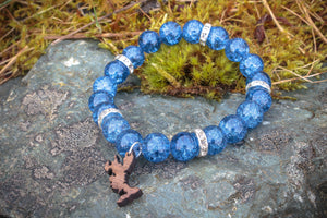 Seablue Crackled Glass & Diamante Bead Bracelet.