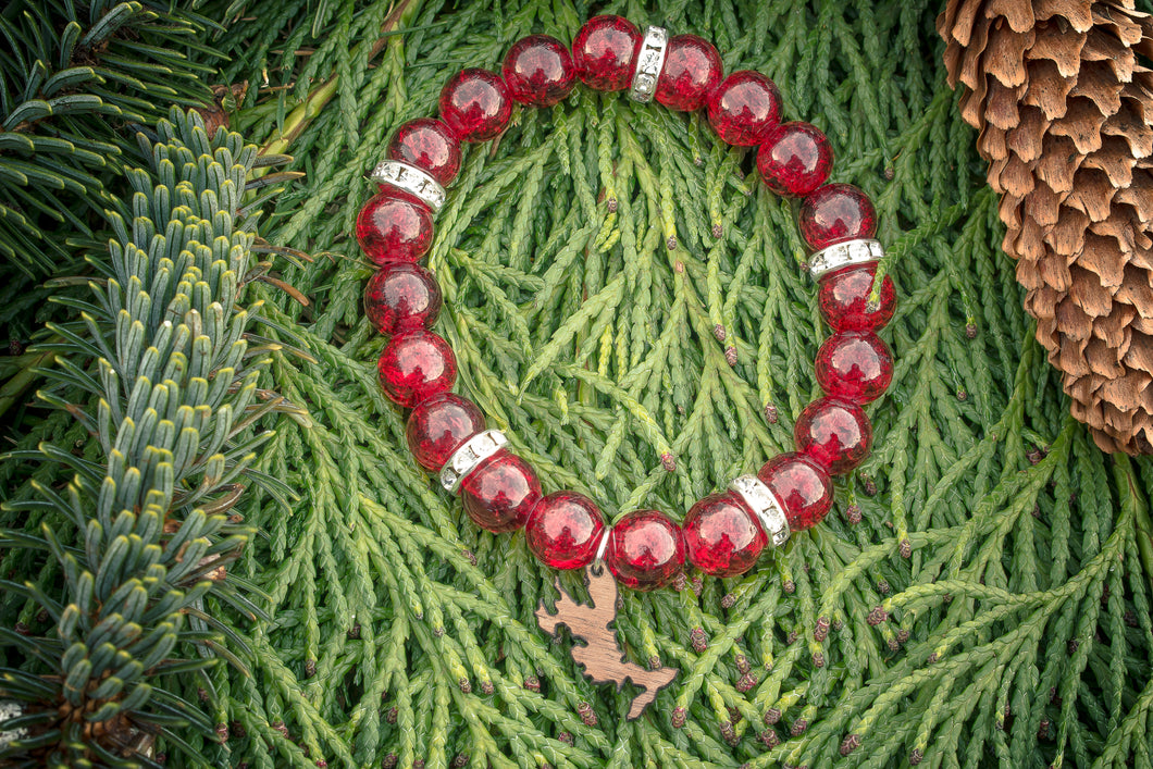Winterberry Crackled Glass & Diamante Bead Bracelet.