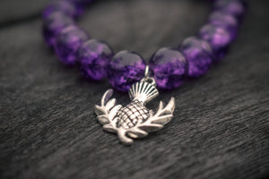 Heather Crackled Glass Bead Bracelet and Silver Thistle.