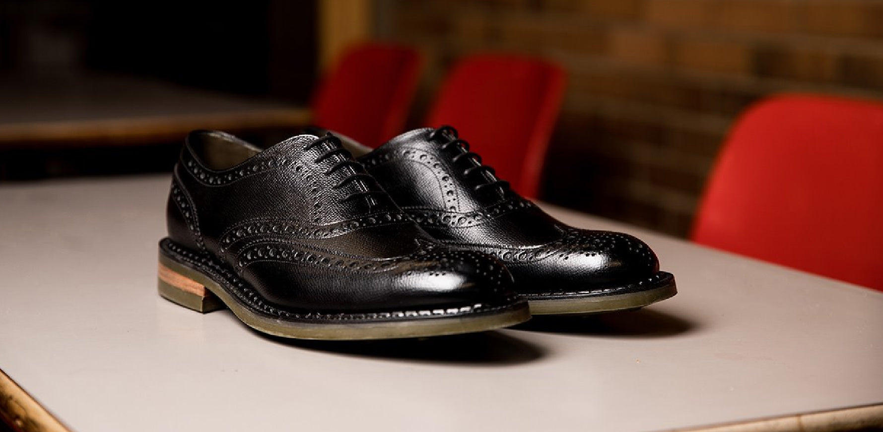 Station - Men's Black Leather Brogue Shoe By Barker
