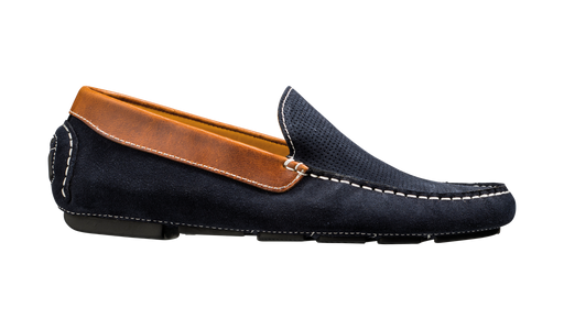 Denby - Navy Suede / Brown Collar