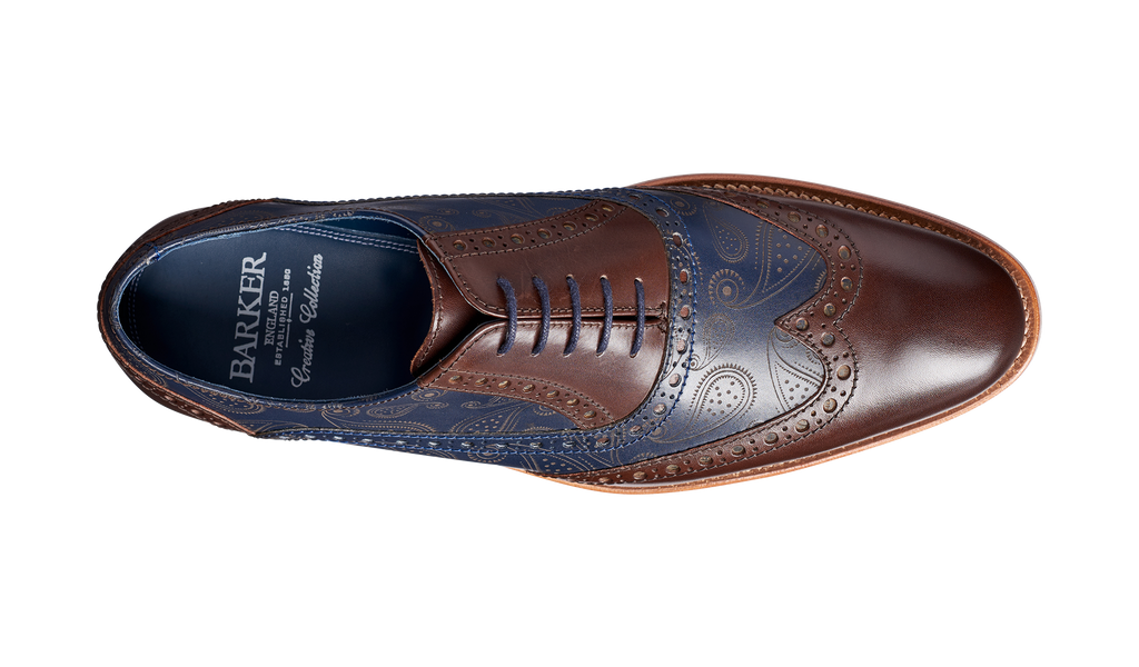 Grant Walnut Navy Calf Paisley Laser Barker Shoes Uk