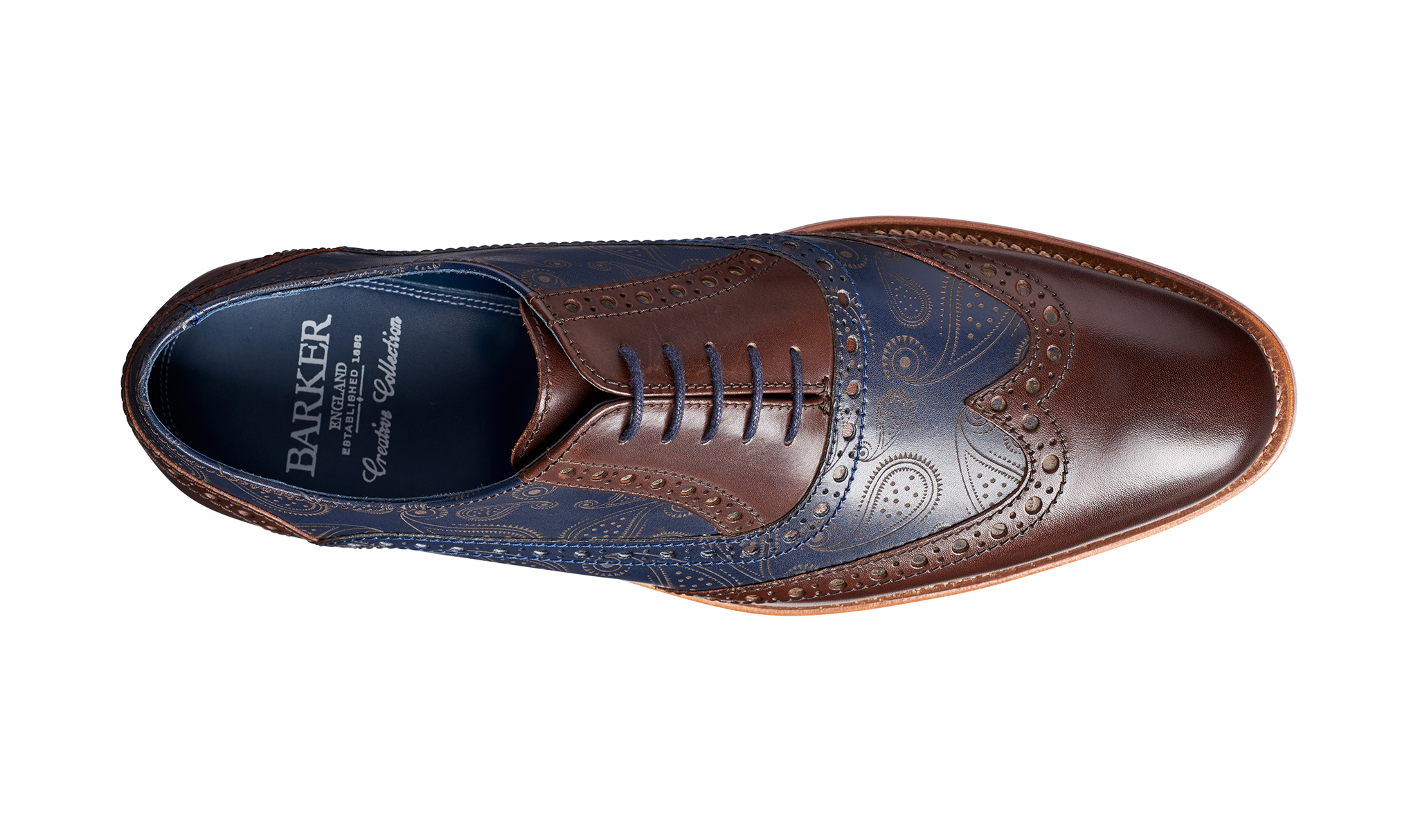 2a48eb1f40913 Grant - Walnut / Navy Calf / Paisley Laser | Barker Shoes UK