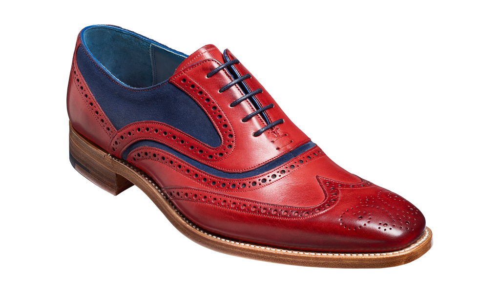 eca68a0b McClean - Red Hand Painted / Navy Suede | Barker Shoes UK