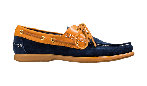 Wallis - Navy Blue Suede / Cedar Collar