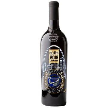 St. Louis Blues 2019 Champions Etched Red Wine Bottle