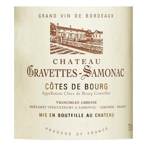 Chateau Gravettes-Samonac Cotes de Bourg Elegance Red Blend 2016